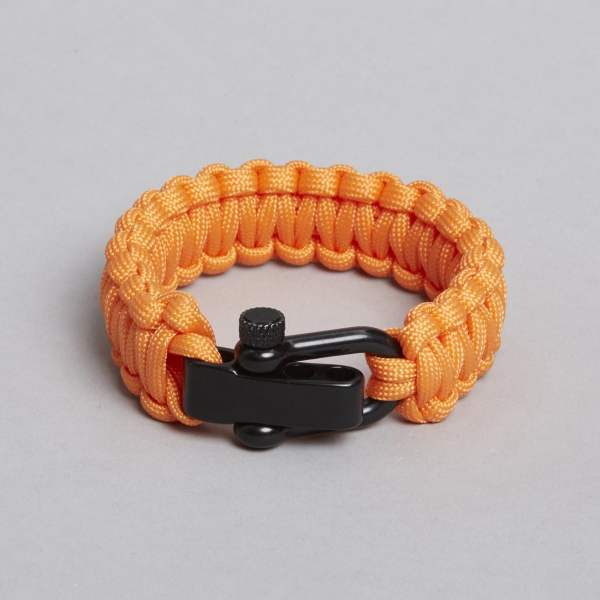 Orange sort armbånd, faldskærmsarmbånd, paracord armbånd.