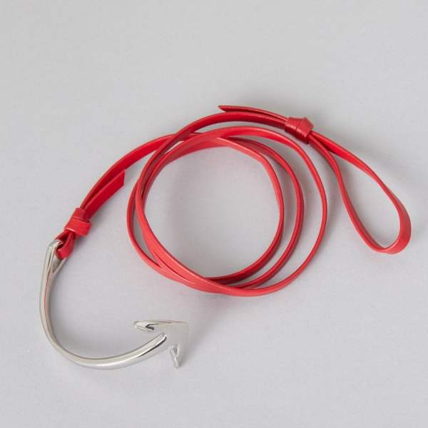 ZLC Red Leather with Silver Anchor Bracelet