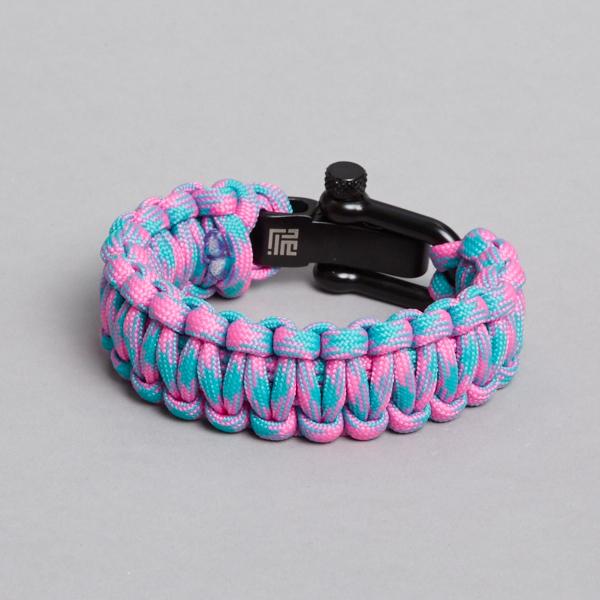 Pink turkis paracord bracelet with black lock recycled by ZLCOPENHAGENarmbånd
