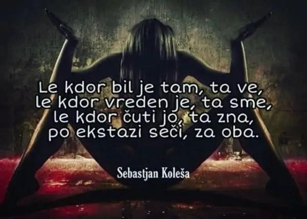 Erotični verzi in poezija Sebastjan Koleša