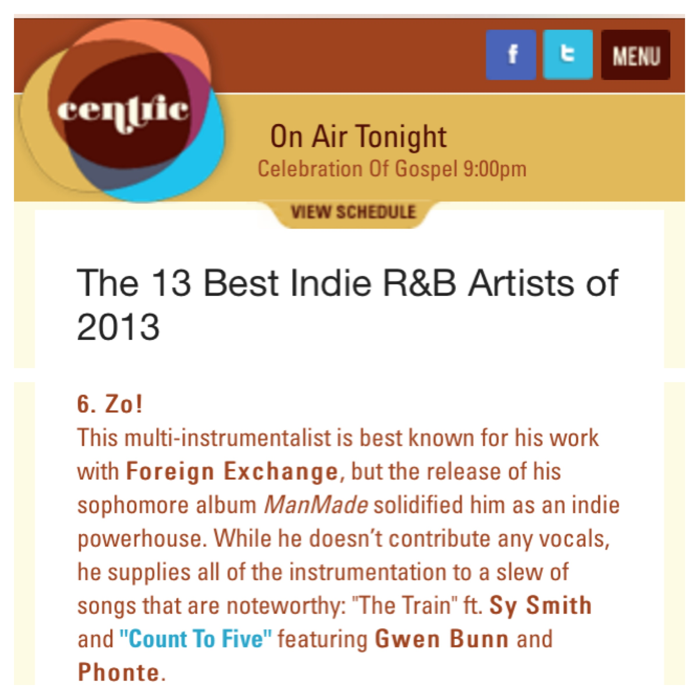 Zo! Named One Of CentricTV\'s \'13 Best Indie R&B Artists of 2013′ – Zo!
