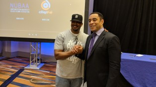 Quick picture with The Takeover's narrator, NU alum, Harry Lennix.