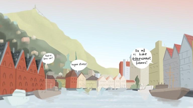 Animasjon for Bergen kommune — Kokevarsel