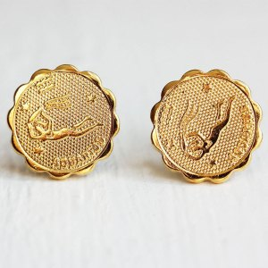 Aquarius Gold Stud Earrings