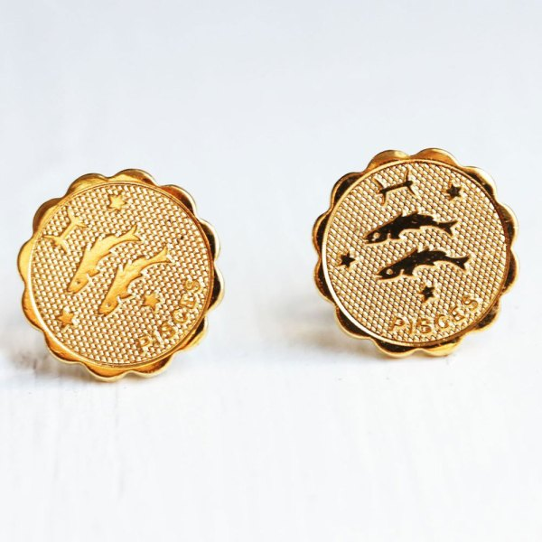Pisces Gold Stud Earrings