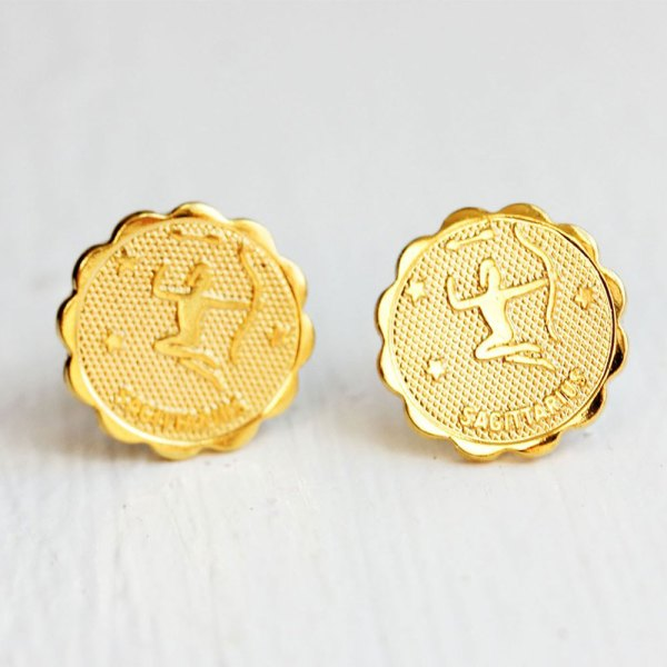 Sagittarius Gold Stud Earrings