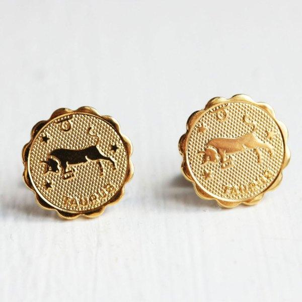 Taurus Gold Stud Earrings