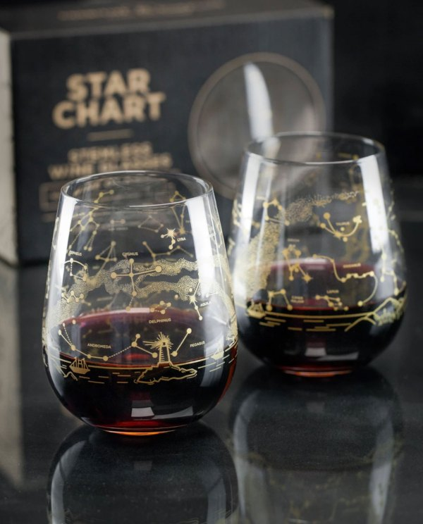 Set of Two Northern Hemisphere Night Sky Stemless Wine Glasses