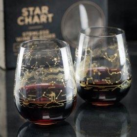 Set of Two Northern Hemisphere Night Sky Stemless Wine Glasses