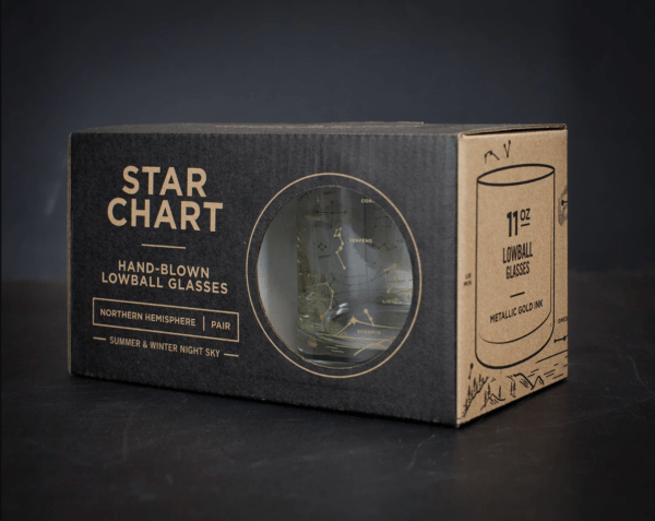 Set of 2 Star Chart Lowball Glasses in Box