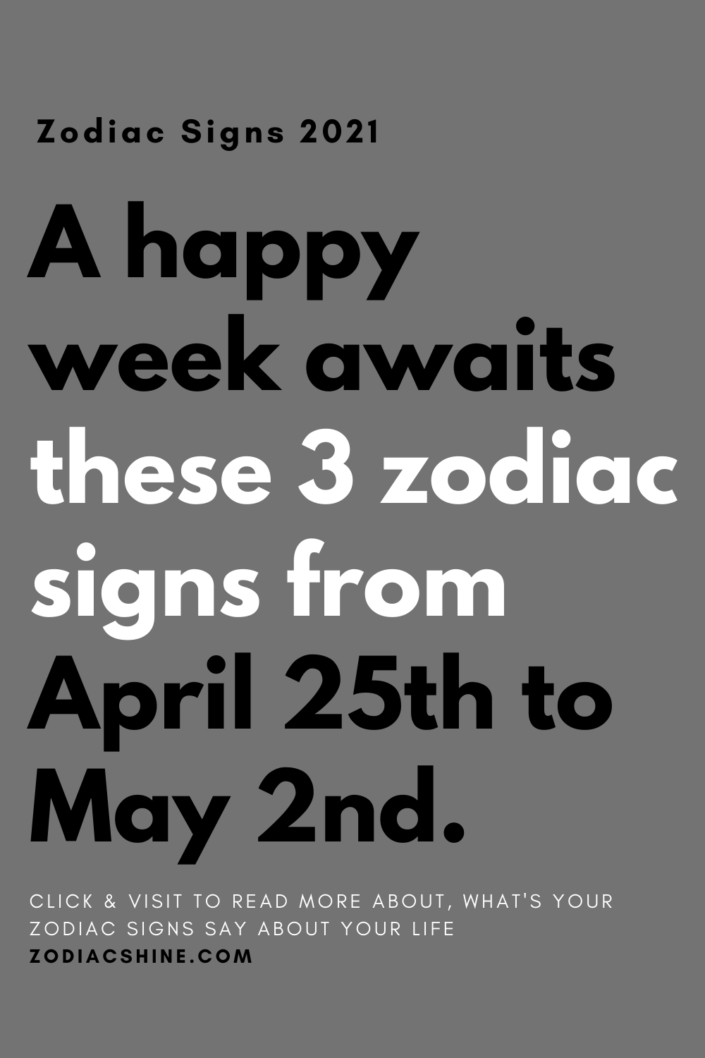 A happy week awaits these 3 zodiac signs from April 25th to May 2nd