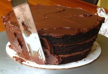 Spreading Ganache on Chocolate Cake   ZoëBakes   Photo by Zoë François