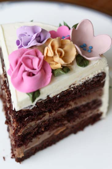 A slice of chocolate springtime flower cake | Photo by Zoë François