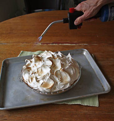 using a creme brulee torch to brown meringue