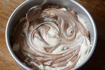 Swirling marble cake batter with spoon   ZoëBakes   Photo by Zoë François