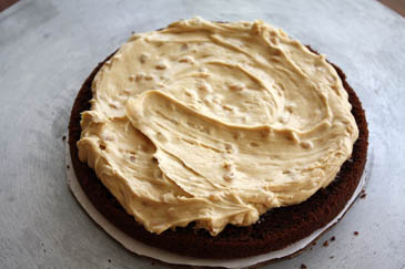 Peanut butter icing on a chocolate cake | ZoëBakes | Photo by Zoë François