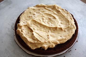 Peanut butter icing on a chocolate cake   ZoëBakes   Photo by Zoë François