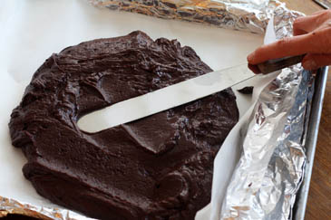 How to make fudge: use a spatula to spread the mixture into your prepared pan.