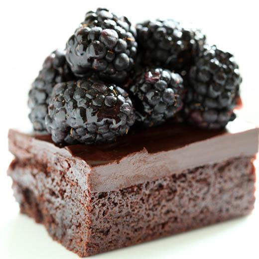 Chocolate brownie topped with blackberries | ZoëBakes | Photo by Zoë François