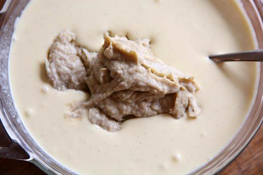 Adding roasted bananas to ice cream custard base