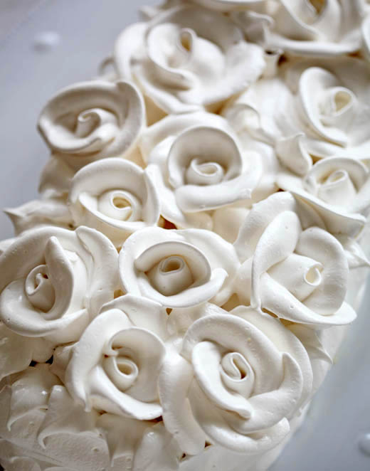 Piped Meringue Roses | ZoeBakes | Photo by Zoë François