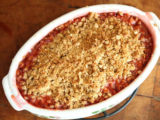 Strawberry-Rhubarb Crisp Recipe | ZoëBakes | Photo by Zoë François
