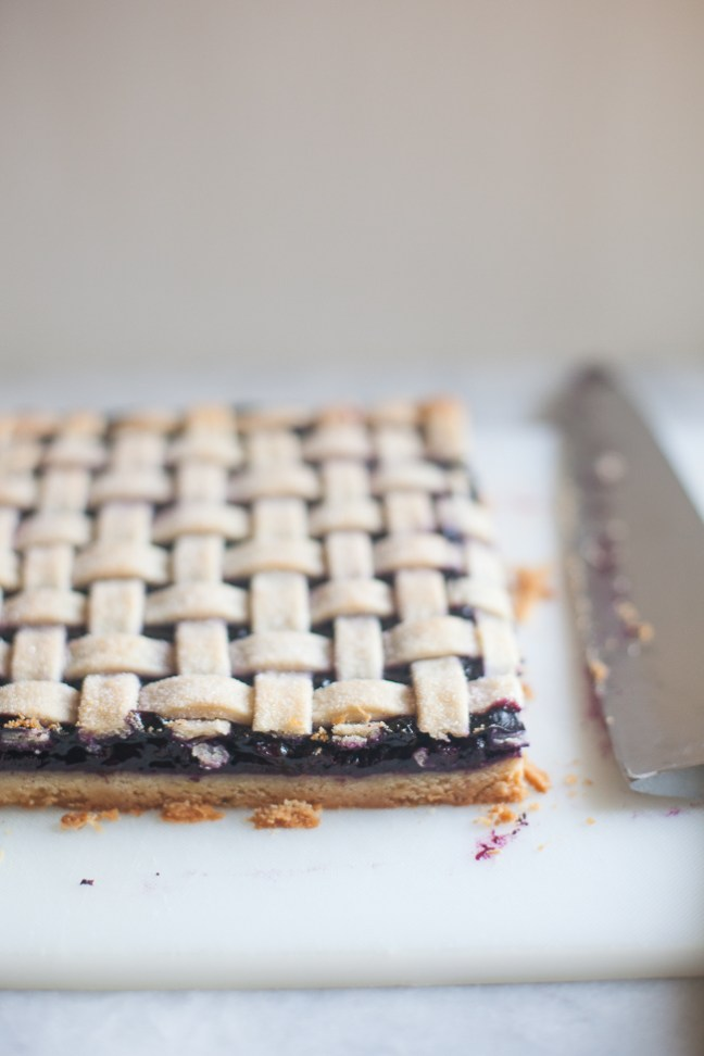 Blueberry Bars with a lattice pie crust