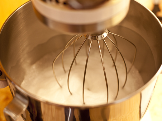 Whisking meringue in a mixer | ZoëBakes | Photo by Zoë François