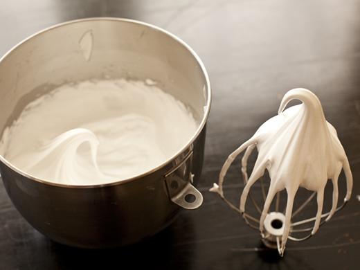 Whipped meringue with a stiff peak   ZoëBakes   Photo by Zoë François