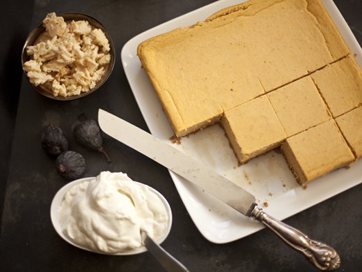 Pumpkin cheesecake with candied almonds and amaretto whipped cream | ZoëBakes | Photo by Zoë François