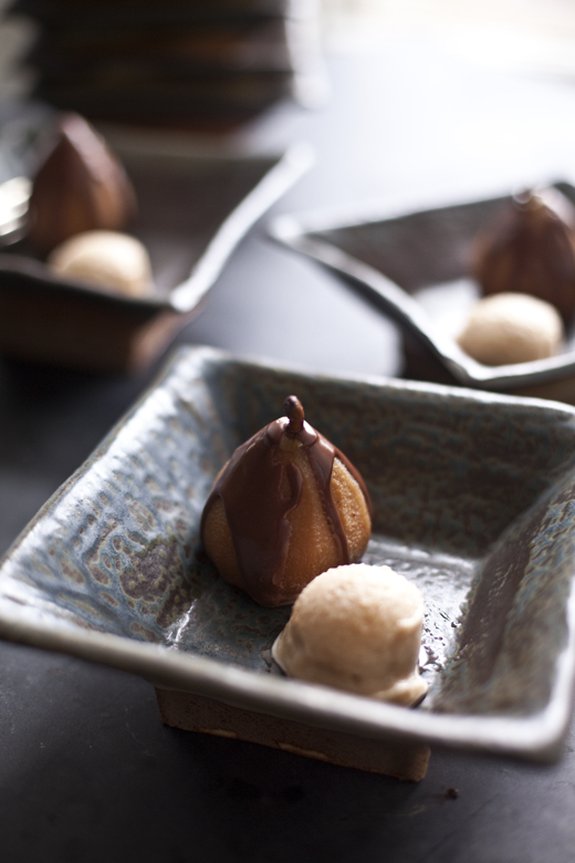 Poached pear and sorbet | ZoëBakes | Photo by Zoë François