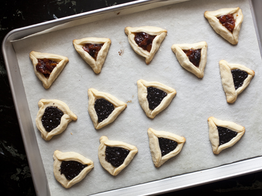 Hamantaschen on baking sheet | ZoëBakes | Photo by Zoë François