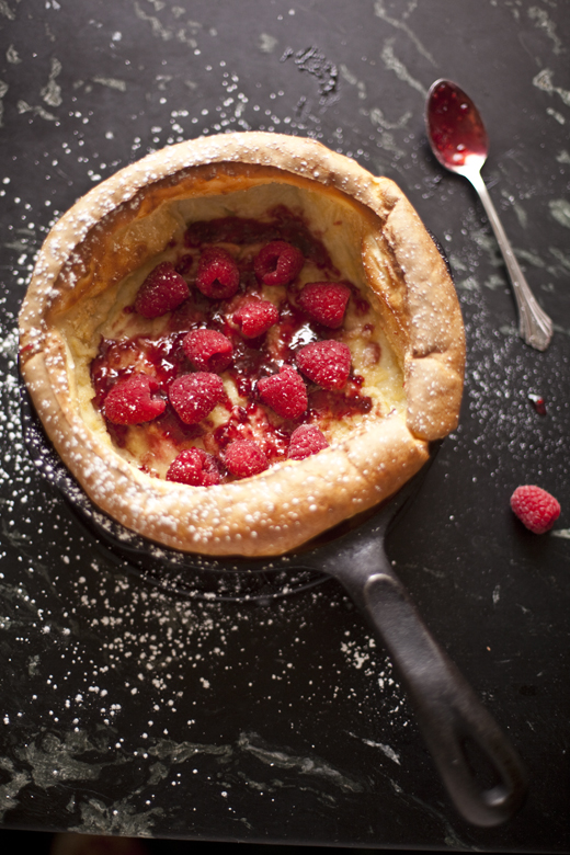 Puffy Popover Pancake filled with raspberries | ZoëBakes | Zoë François