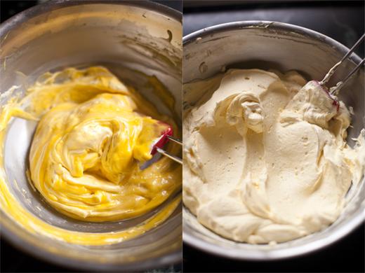 Folding Egg and Mascarpone Together for Tiramisu Filling | photo by Zoë François