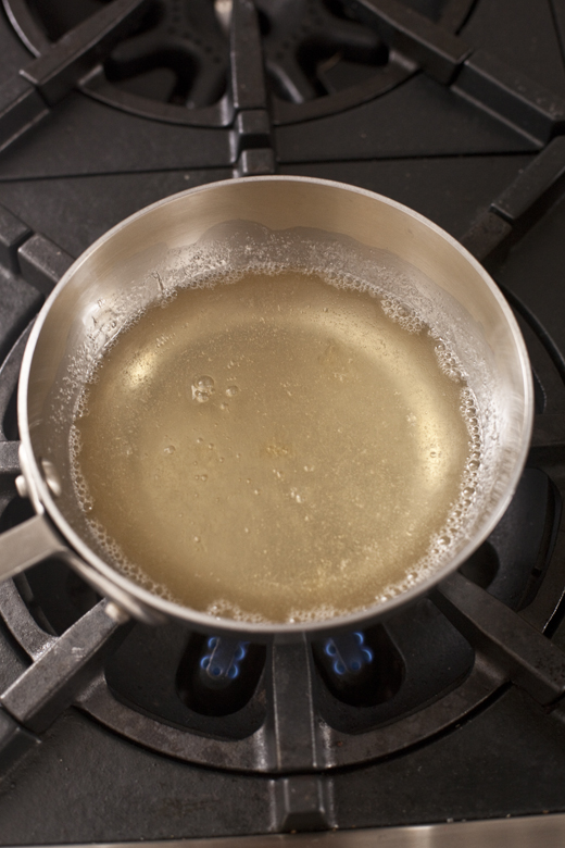 Melted gelatin in a saucepan | how to make homemade marshmallows | photo by Zoë François