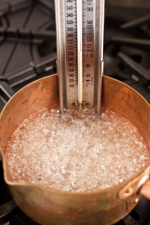 Boiling saucepan with candy thermometer | how to make homemade marshmallows | photo by Zoë François
