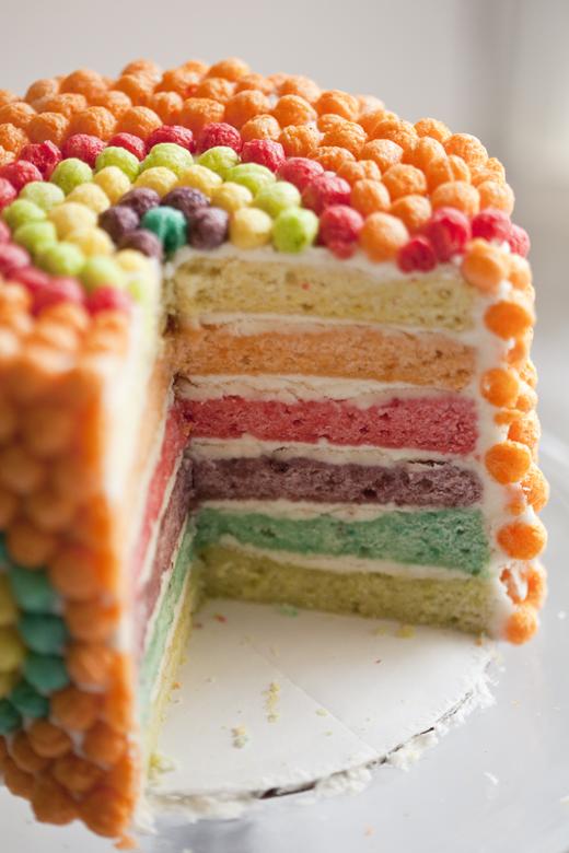 Rainbow Layered Trix Cake Recipe | ZoëBakes | Zoë François