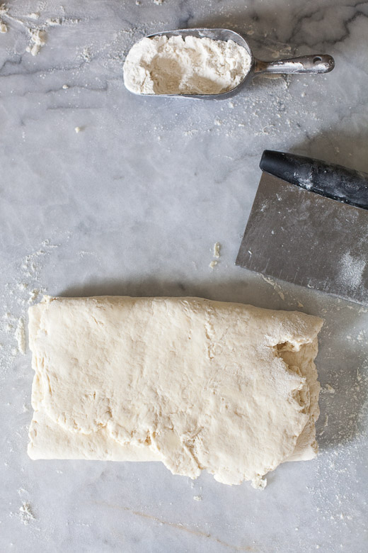 How to Make Flaky Biscuits   Folding the dough in thirds with a pastry scraper