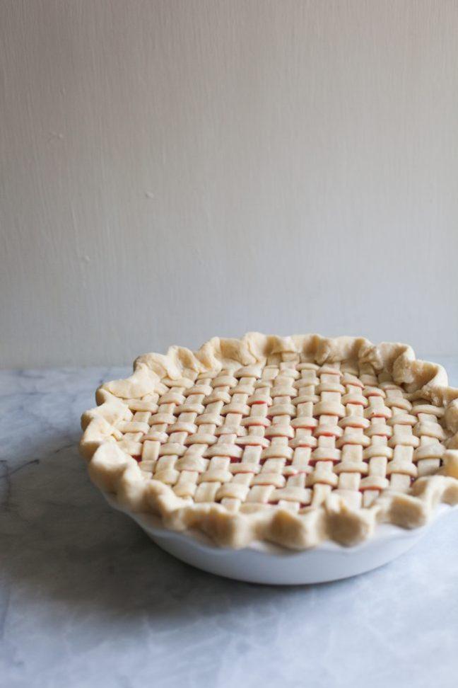 Whole Strawberry Rhubarb Pie   photo by Zoë François