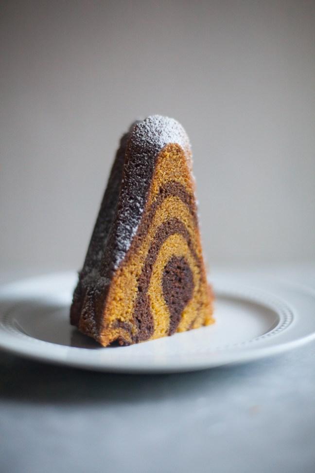 Chocolate Pumpkin Swirl Bundt Cake | ZoeBakes by Zoë François