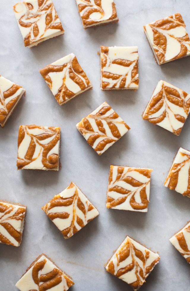 Pumpkin Swirl Cheesecake Bars | ZoeBakes
