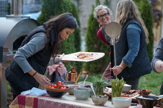 Host Zoe Francois with friends at her backyard pizza party.