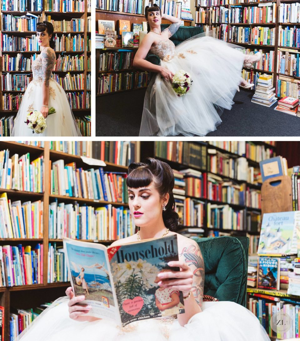 Bookshop-themed 50's styled bridal shoot oakland
