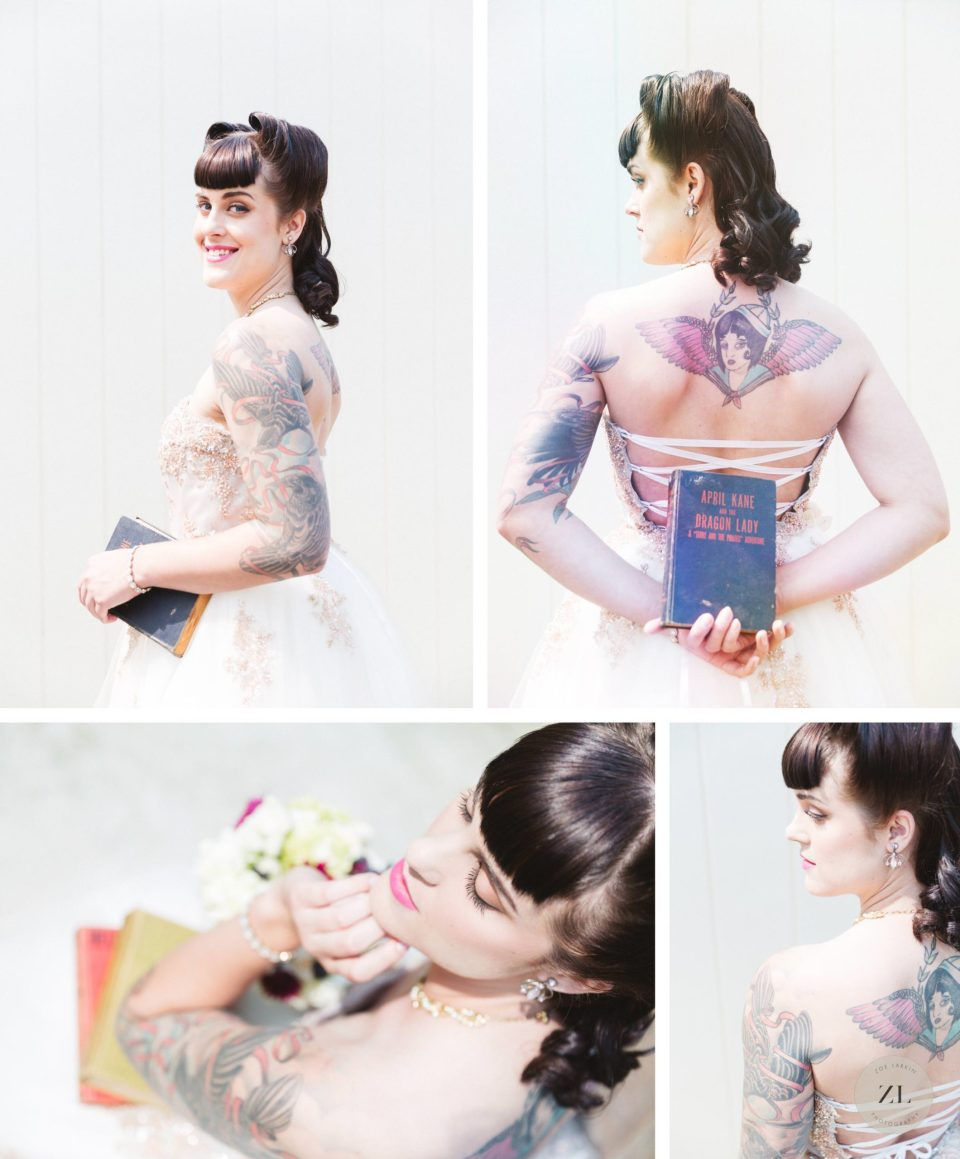 tattooed model featured on offbeat bride with 50's themed bridal shoot details