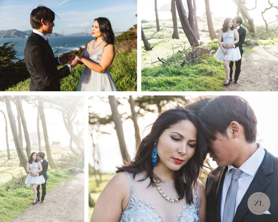 Lands End San Francisco engagement photography couple in forest
