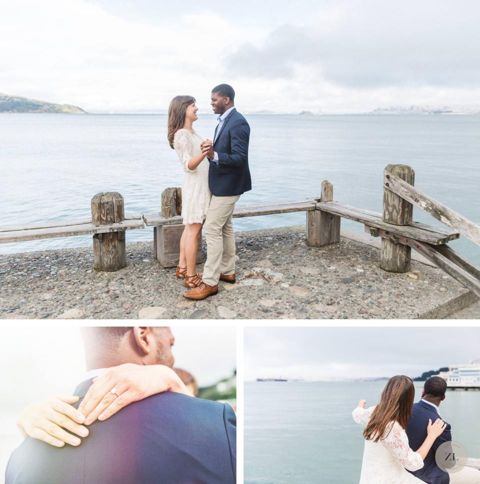 swirl couple dancing at their sausalito engagement session on the water