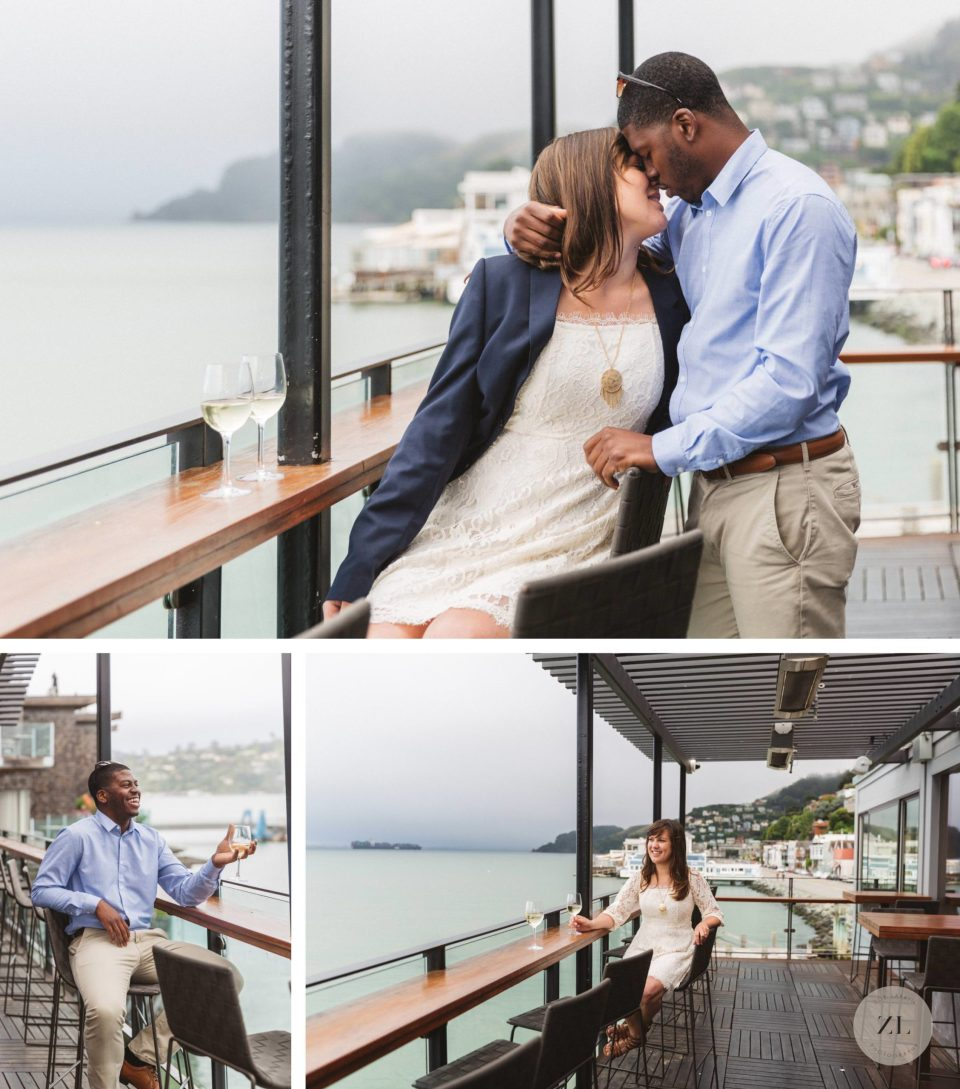 couple at the barrel house tavern for engagement photos in sausalito, marin county