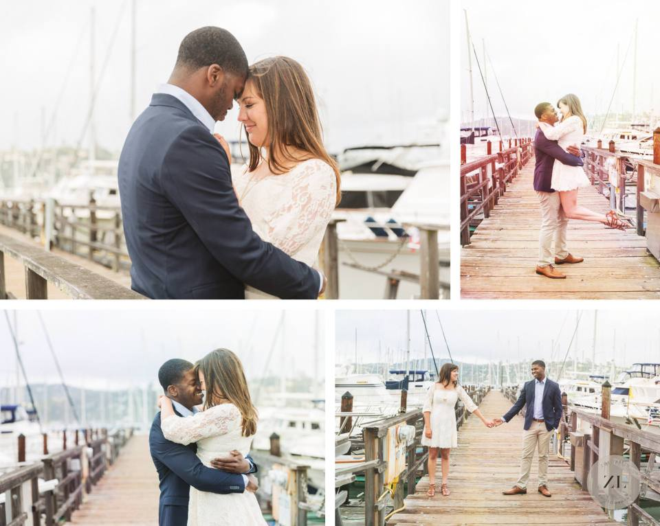Marin engagement shoot on the harbor in Sausalito