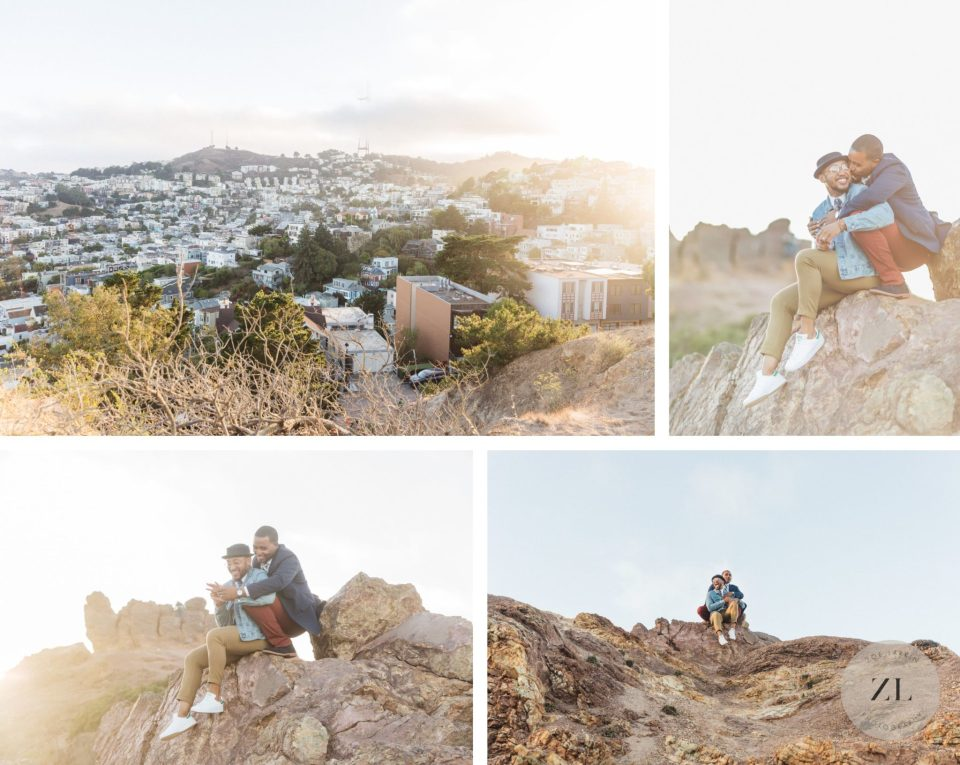 same sex engagement photos taken at corona heights park, san francisco at sunset