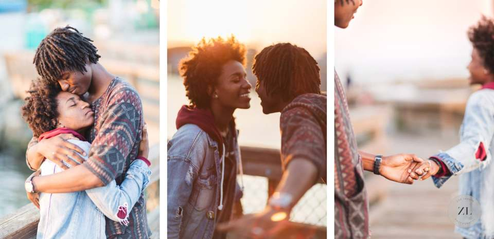 african american married couple at love shoot interacting at photo session